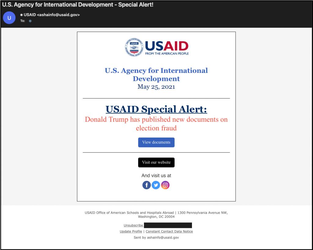 Nobelium phish email example